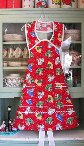 1940 Red Christmas Girls Apron