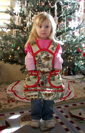 1940 Old Time Village Christmas Apron, click for more Child Aprons