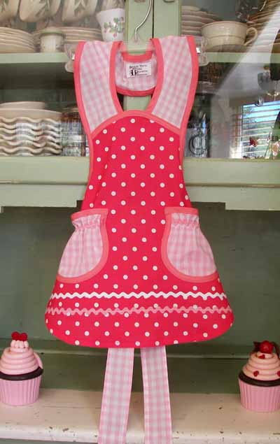 1940 Pink Polka Dot / Pink Gingham Child apron