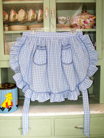 1948 Ruffle Blue Gingham Half Apron, click for more 1948 ruffle half aprons