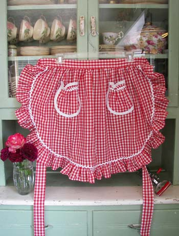 1948 Ruffle Red Gingham Half Apron, click for more 1948 half aprons