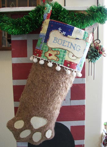 Dog Paw Christmas Stocking brown with white trim