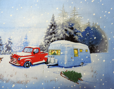 Vintage Christmas Trailer and Trucks close up 2