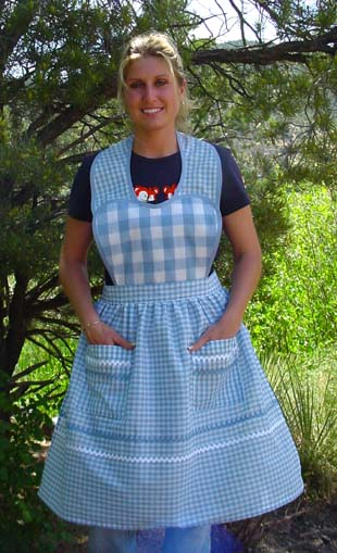 Blue Gingham Heart Apron