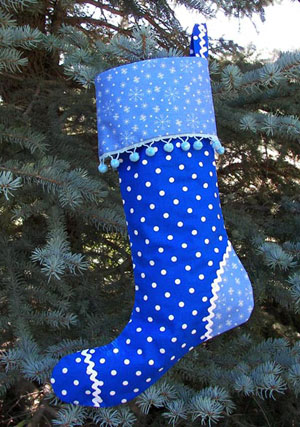 Blue Polka Dot Christmas Stockings