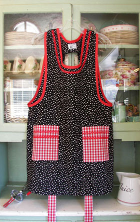 Grandma Apron Black polka Dot with red trim