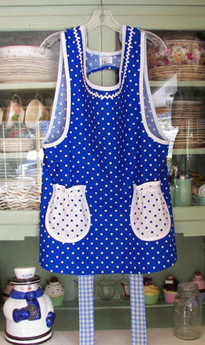 Grandma Blue Gingham with Blue Polka Dots Aprons
