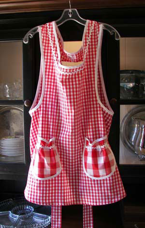 Red Gingham Grandma Aprons