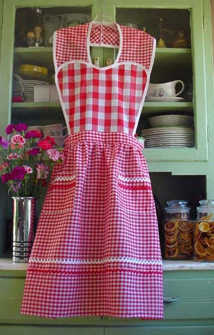 Red Gingham Heart Aprons
