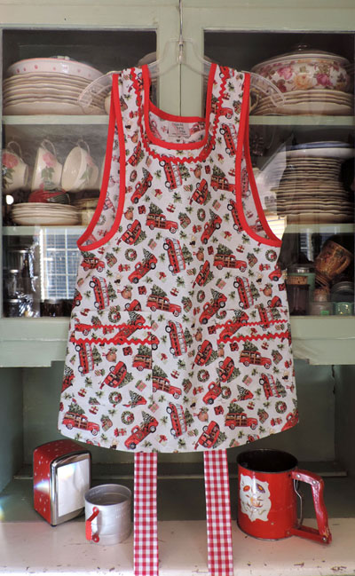 Grandma red truck and dog Christmas apron