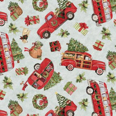 Red Truck and Dog Christmas Apron