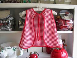 Little girl red gingham back apron