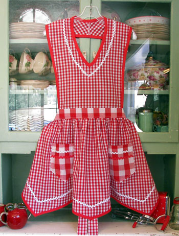 Victory Full Apron in Red Gingham